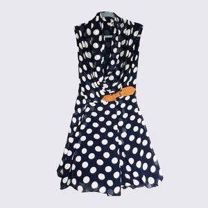 Dresses & Skirts - Navy and white big polka dot dress